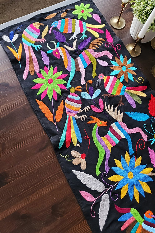 Otomi, Table runner, Multicolor, hand embroidered,  black fabric,