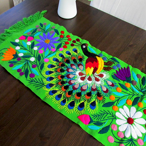 mexican textile, table runner green, peacocks, flowers and birds, mexican crewel embroidery, mexican fabric, mexican hand mad
