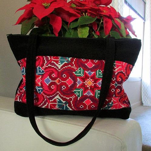 black purse, mexican fabric, colorful, mexican handmade, textile purse, Chiapas textil, Chiapas embroidery.