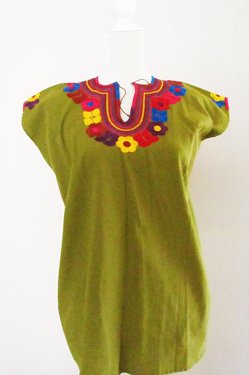 blouse green, mexican hand embroidery, blouse colorful, mexican crewel embroidered, mexican blouse, chiapas fabric, mexican f
