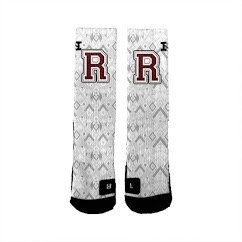 Ridgewood Novelty Crew Socks White Distress
