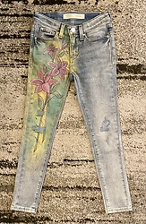 Glitter jeans with painted lilies