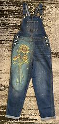 Painted sunflower overalls