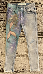 Custom painted mermaid jeans