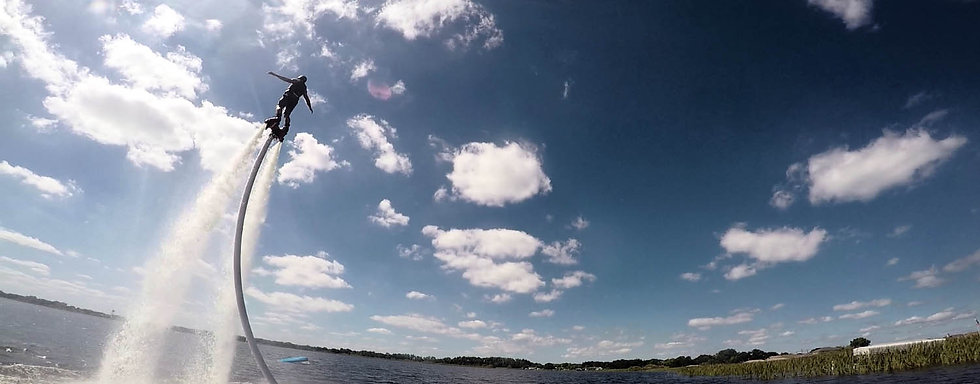Soaring High Above the Lake Flyboarding