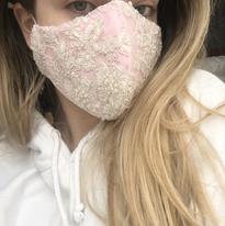 Pearl Embellished Mask - Pink