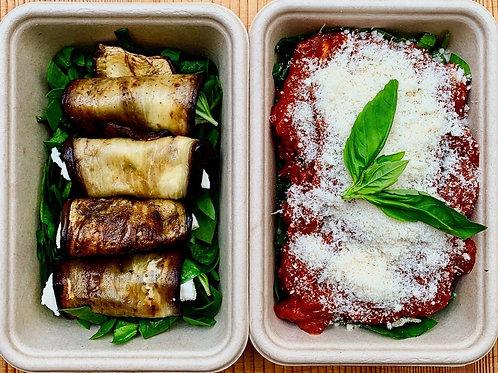 Baked aubergine parmigiana rolls serves 2