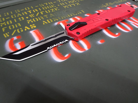 Red Skull OTF Knife with Holster Tanto Blade with Serration