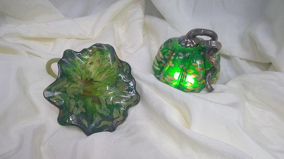 Glass Pumpkin and Flower Set