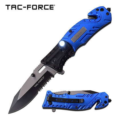 Tac Force Police Spring Assist Folding Rescue Pocket Knife with SeatBelt Cutter