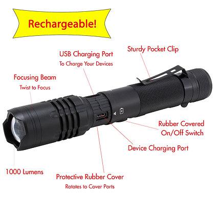 LitezAll 1000 Lumen Rechargeable Tactical Flashlight Features