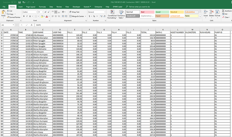 Export fuel transaction data to a spreadsheet