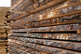 Wooden planks. Air-drying timber stack.