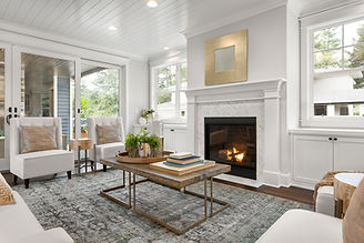 Beautiful white living room in new luxur