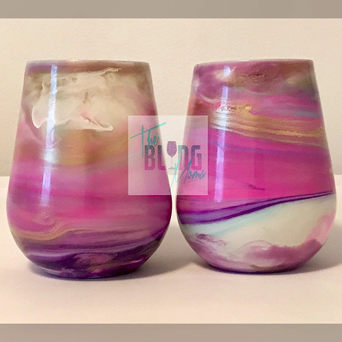Unicorn Cotton Candy Wine Glass Set