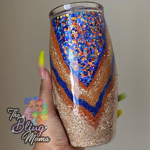 25oz Barrel Blue & Orange Glitter V Layer