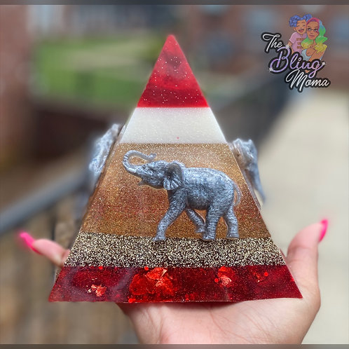 Crimson and Creme Elephant Inspired Pyramid | Resin Art