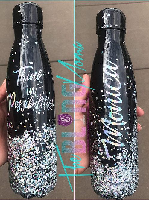 Black Sparkle Water Bottle