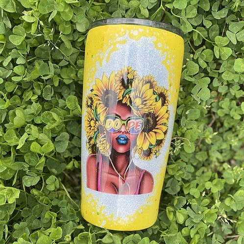 Bright Yellow Sunflower Afro Stainless Steel Tumbler