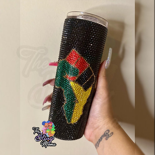 Black Pride African Fist Red Black Green Yellow Crystal Bling Tumbler
