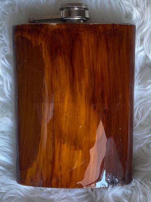 8oz Woodgrain Rectangle Flask