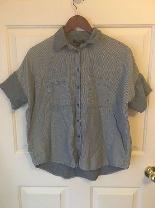 (Madewell/S:Small) Grey Button Up Striped Cuff Sleeved Shirt 053