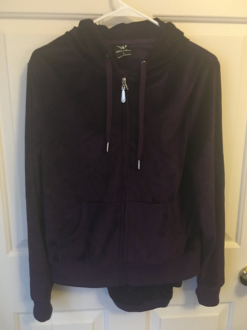 (White Mark/S:Large) Purple Faux Velvet Track Suit 040