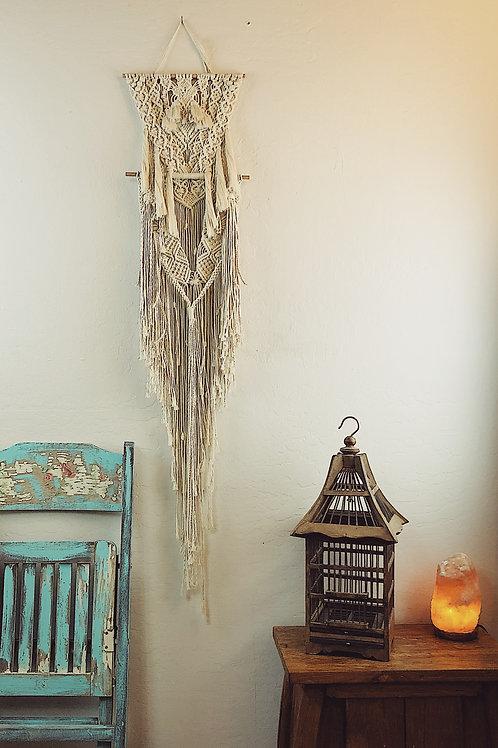 Handmade White Cotton BOHO Style Macrame Wall Hanging