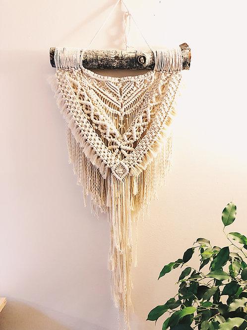 Opulent White Macrame Wall Hanging