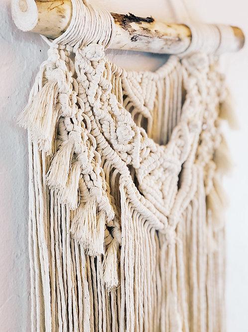 Small Natural Cotton Handmade Macrame Wall Hanging, BOHO Decor