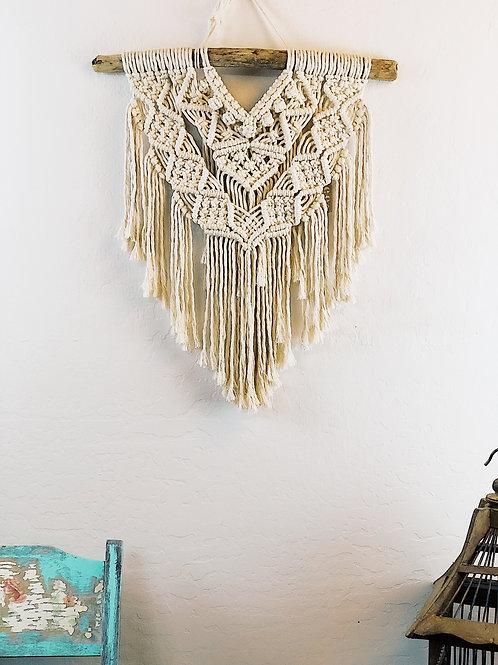 Medium natural white cotton macrame hanging
