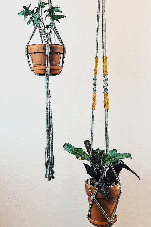 Sage and Mustard Extra Long Macrame Plant Hanger, BOHO Decor, Jungalow