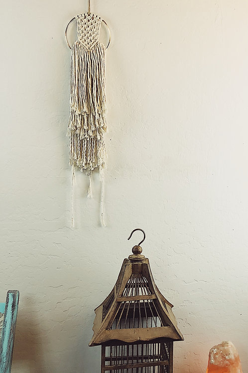 Small Macrame Wall Hanging on a Brass Ring