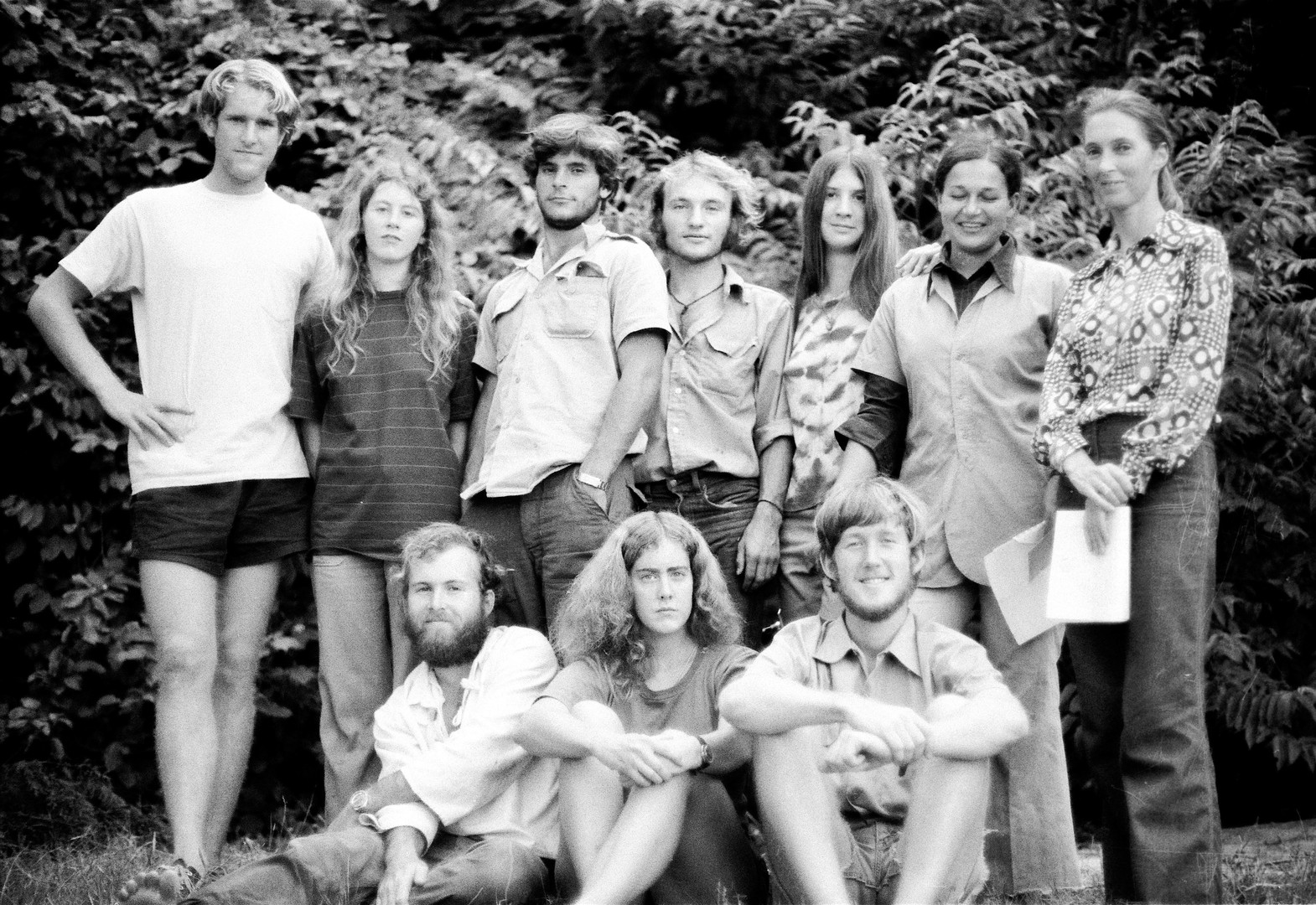 Our group of students and researchers. Back row from left: Curt Busse, Caroline Tutin, Grant Heidrich, Anthony Collins, Julie Johnson, Emilie Bergman Riss, and Jane. Front from left: Jim Moore, Lisa Nowell, and me. Photo courtesy of John Crocker, 1974.
