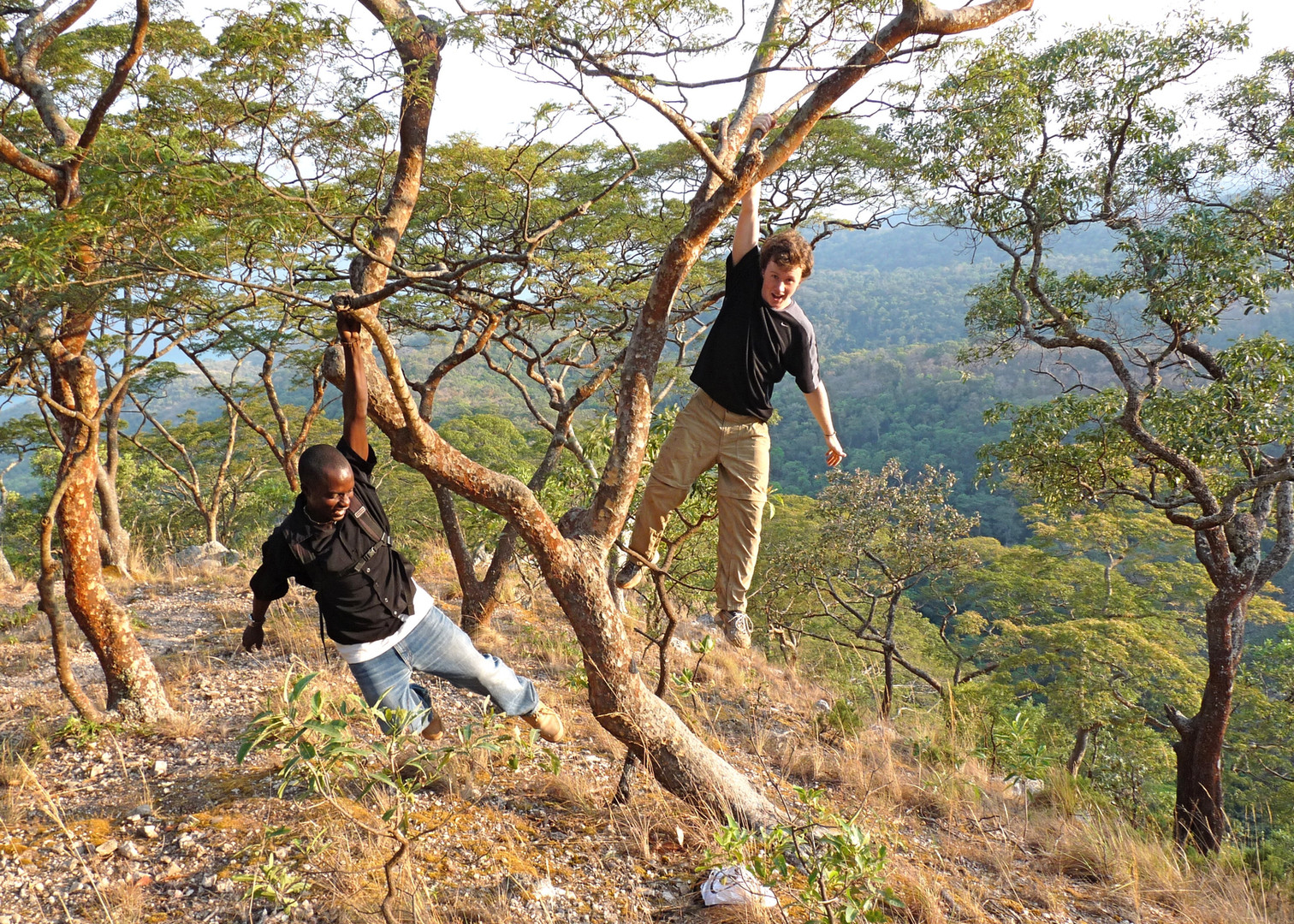 Tommy and Abdul on the way to Bubongo Village. Photo by John Crocker, 2009