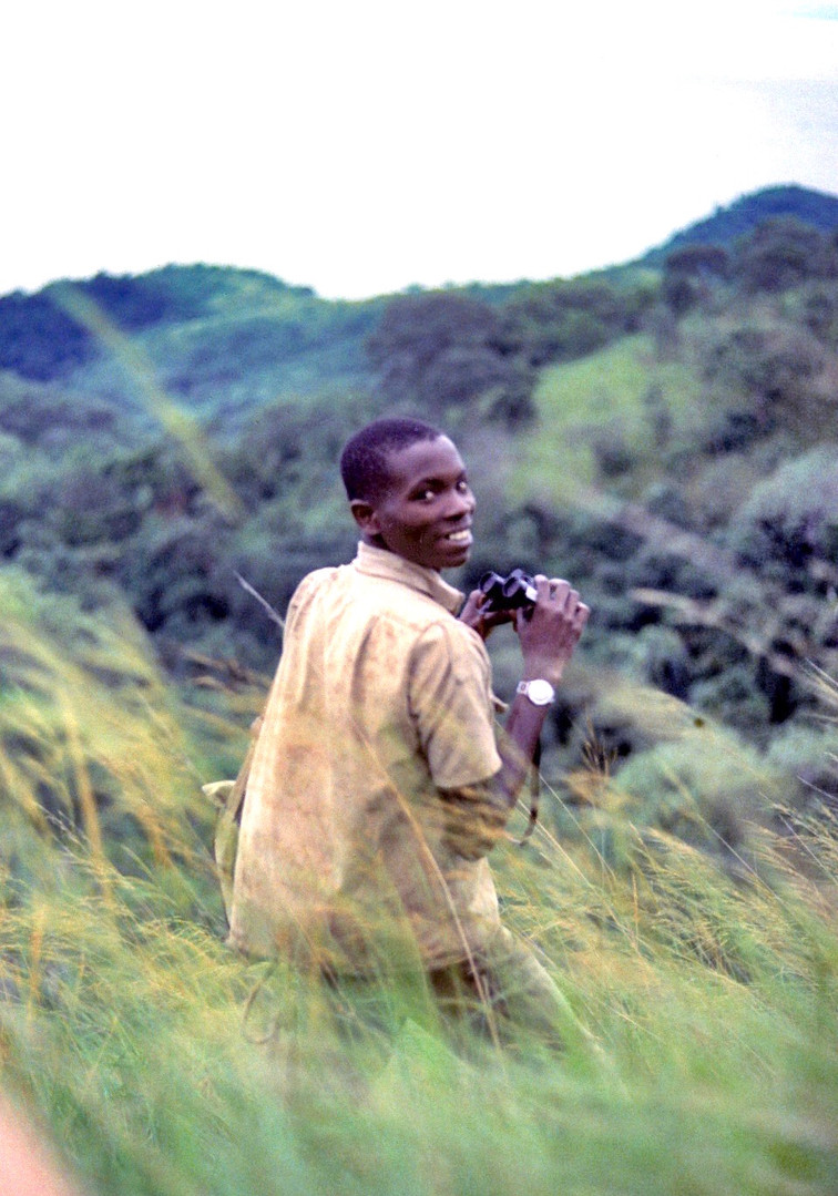 Field assistant Hamisi Mkono guiding me through the valleys after we lost our chimps and began heading back to camp. Photo courtesy of John Crocker, 1974.