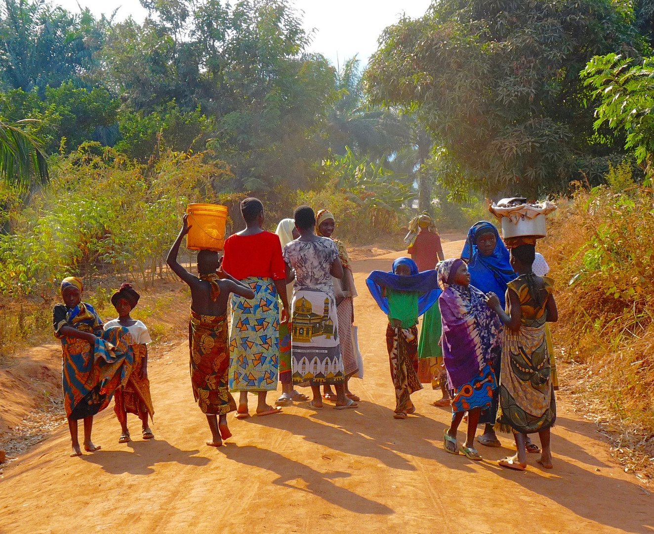 A group of Tanzanian women on the road to Bubongo Village. Photo by Thomas Crocker, 2009.