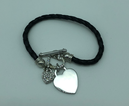 Black Leather Heart Bracelet