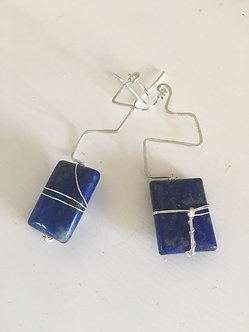Silver & Lapis Lazuli Ear-Rings