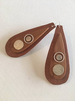 Timber & Sterling Silver Teardrop Ear-Rings