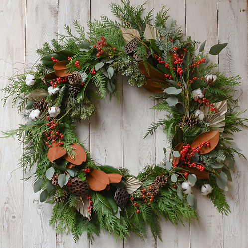 Full and Festive Wreath ~ From $175