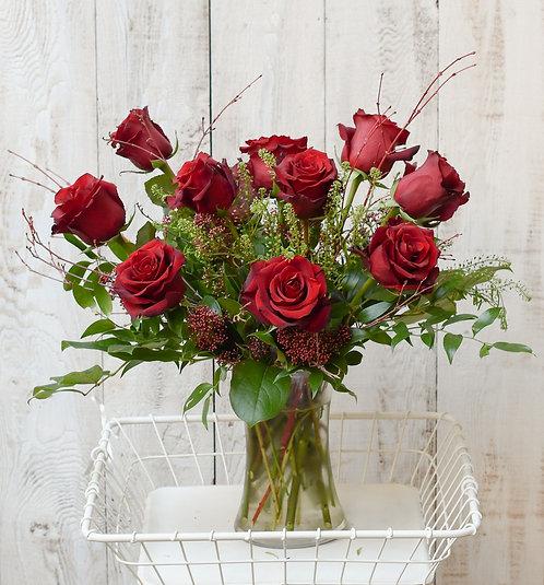 Rose Vase Arrangement ~ From $125