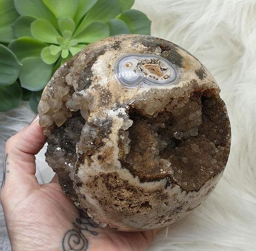Agate geode sphere