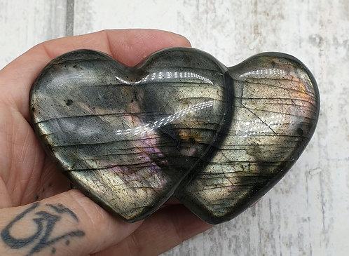 Double Labradorite heart
