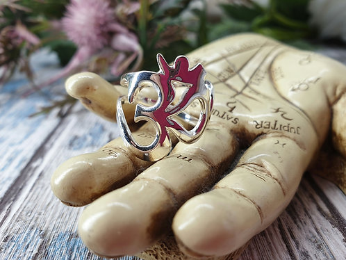 Sterling silver adjustable Om Ring