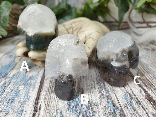 Moss agate skull