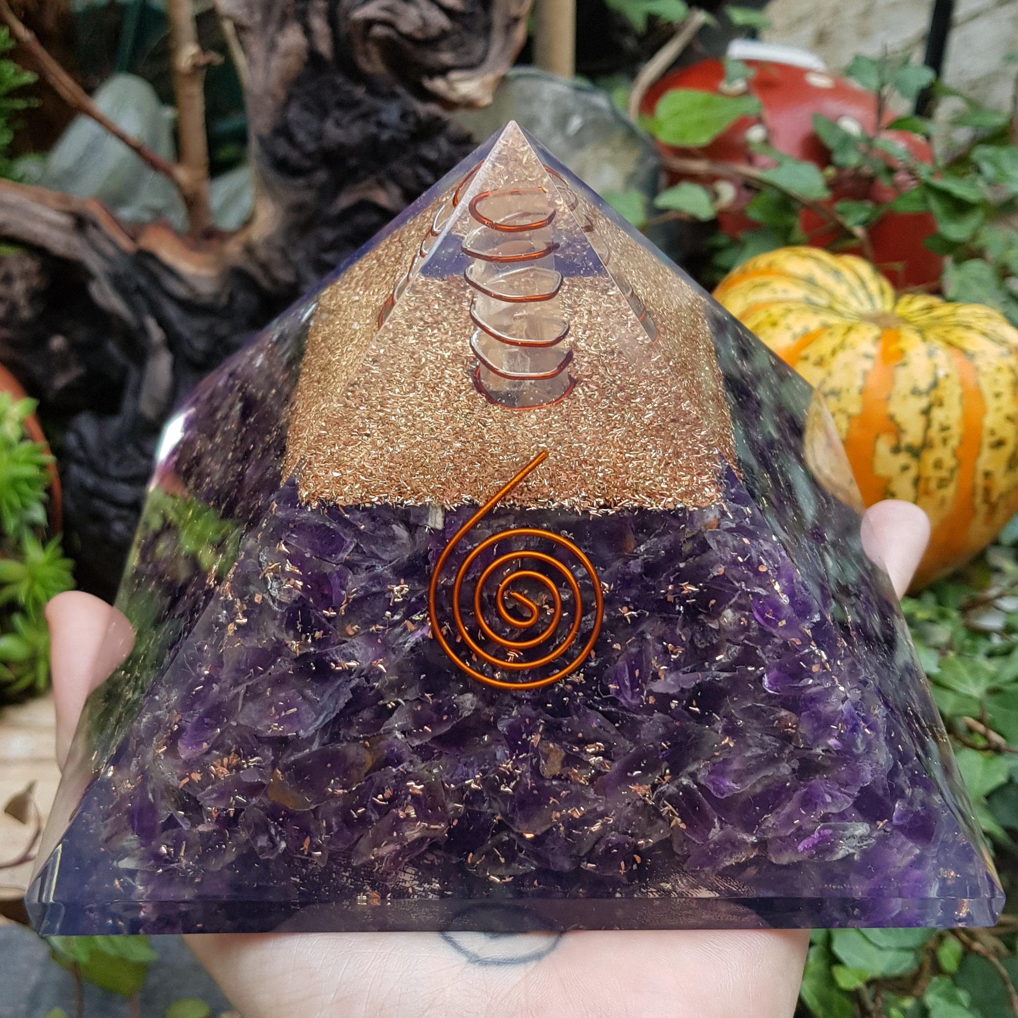5 inch Amethyst Orgone pyramid