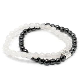 Hematite and quartz bracelet
