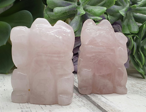 Chinese lucky cat Rose Quartz