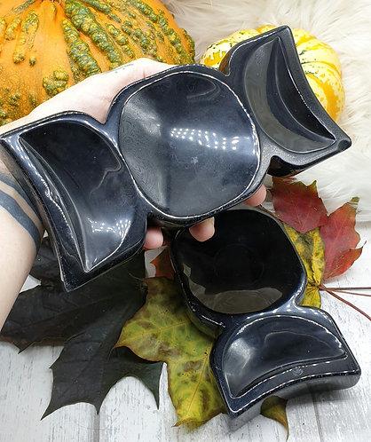 Black Obsidian Triple Moon Bowl